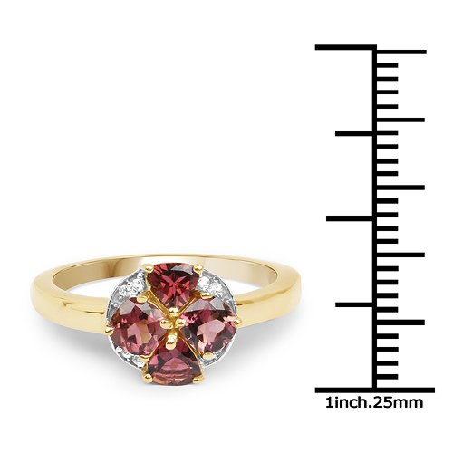 14K Yellow Gold Plated 0.94 Carat Genuine Pink Tourmaline & White Topaz .925 Sterling Silver Ring