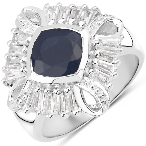 Sapphire-3.06 Carat Genuine Glass Filled Sapphire and White Topaz .925 Sterling Silver Ring