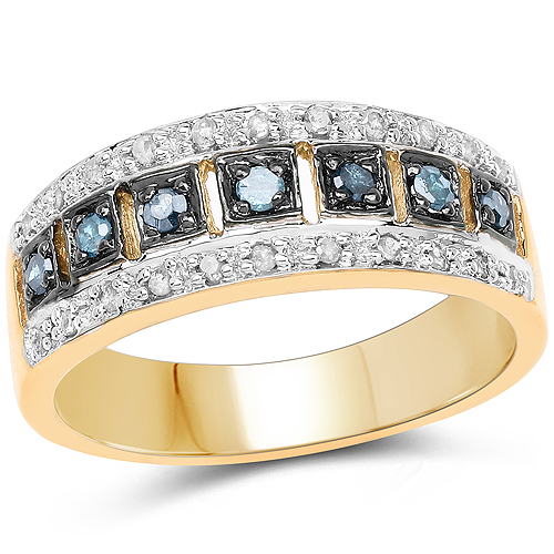Diamond-14K Yellow Gold Plated 0.27 Carat Genuine Blue Diamond and White Diamond .925 Sterling Silver Ring