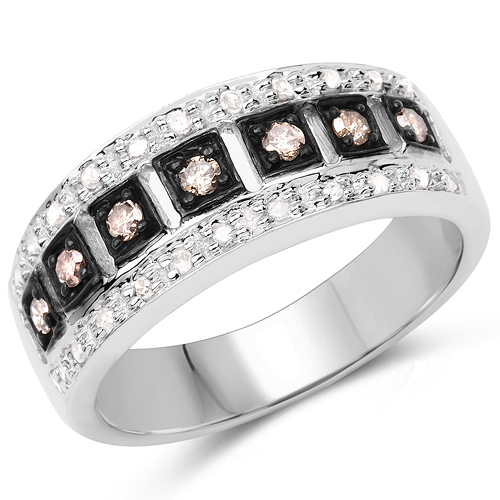 Diamond-0.27 Carat Genuine Champagne Diamond and White Diamond .925 Sterling Silver Ring Ring
