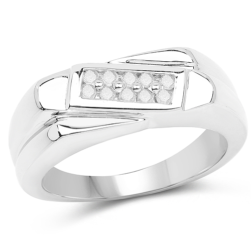 Diamond-0.15 Carat Genuine White Diamond .925 Sterling Silver Ring