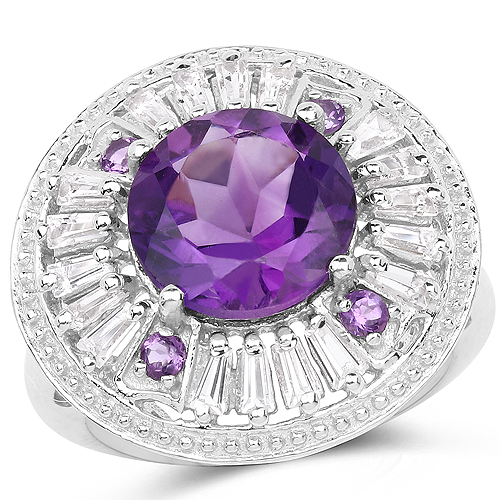 Amethyst-5.58 Carat Genuine Amethyst and White Topaz .925 Sterling Silver Ring