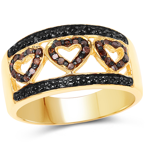 Diamond-14K Yellow Gold Plated 0.32 Carat Genuine Black Diamond and Red Diamond .925 Sterling Silver Ring