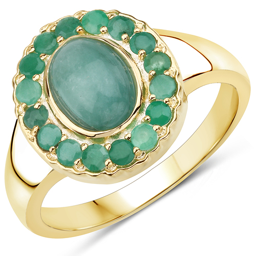 Emerald-14K Yellow Gold Plated 1.83 Carat Genuine Emerald .925 Sterling Silver Ring