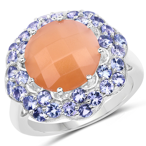 Rings-7.20 Carat Genuine Peach Moonstone and Tanzanite .925 Sterling Silver Ring