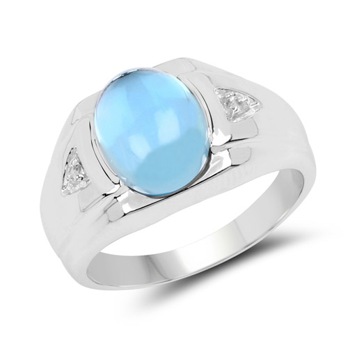 Rings-3.67 Carat Genuine Swiss Blue Topaz and White Topaz .925 Sterling Silver Ring