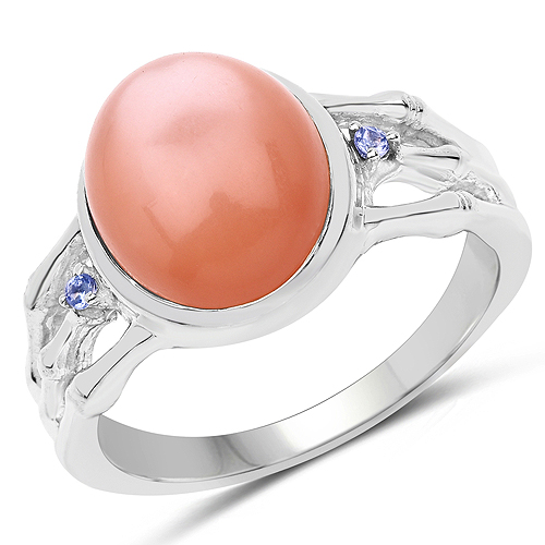 Rings-6.54 Carat Genuine Peach Moonstone and Tanzanite .925 Sterling Silver Ring