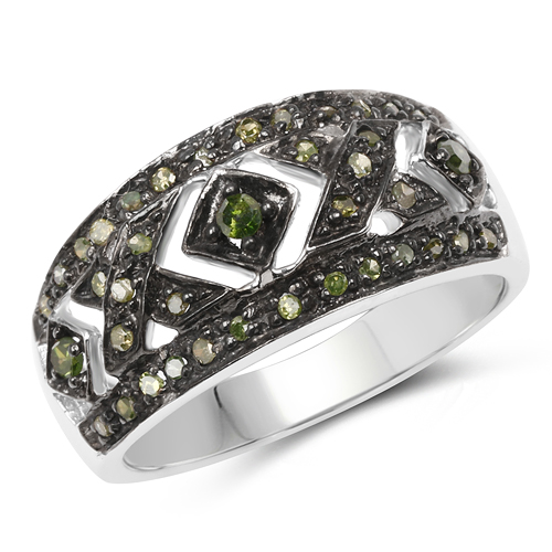 Diamond-0.27 Carat Genuine Green Diamond .925 Sterling Silver Ring