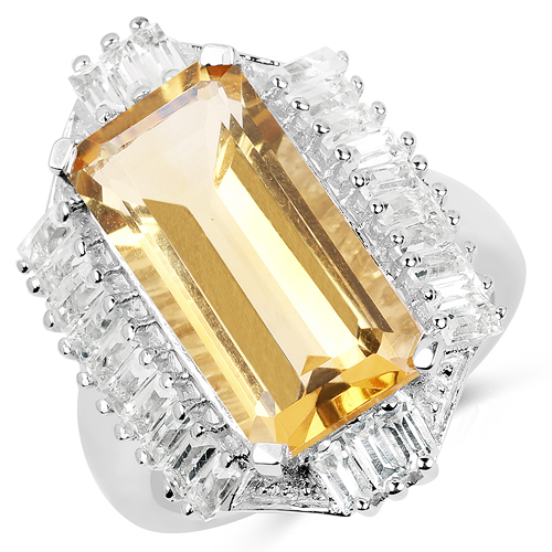 Citrine-9.13 Carat Genuine Citrine & White Topaz .925 Sterling Silver Ring