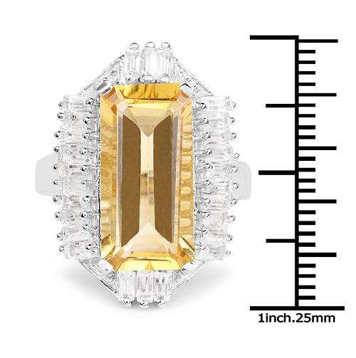 9.13 Carat Genuine Citrine & White Topaz .925 Sterling Silver Ring