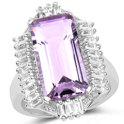 Amethyst-8.52 Carat Genuine Pink Amethyst & White Topaz .925 Sterling Silver Ring