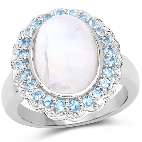 Rings-7.21 Carat Genuine White Rainbow Moonstone & Swiss Blue Topaz .925 Sterling Silver Ring