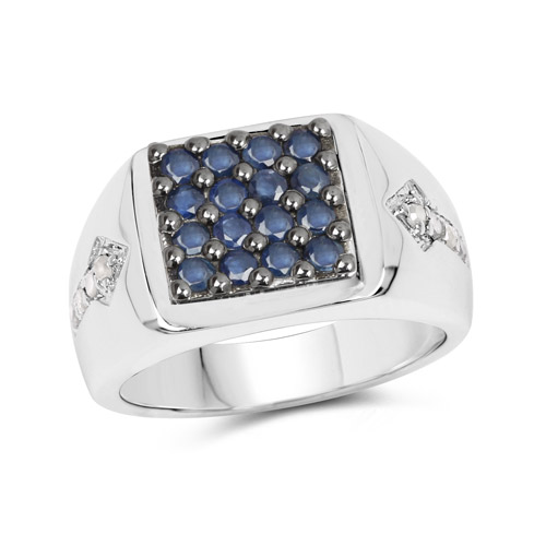Sapphire-0.84 Carat Genuine Blue Sapphire and White Diamond .925 Sterling Silver Ring