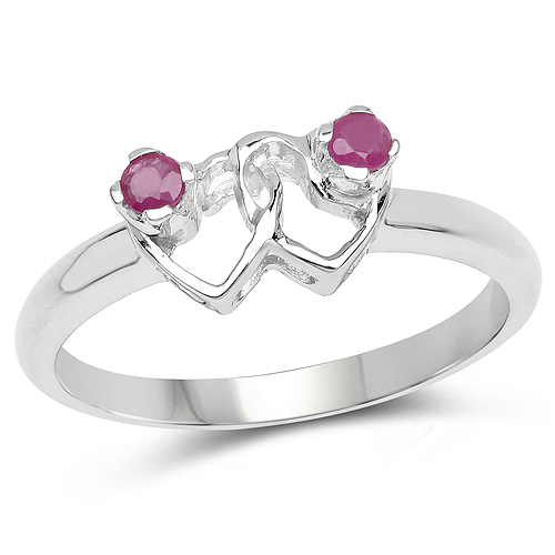 Ruby-0.15 Carat Genuine Ruby .925 Sterling Silver Ring
