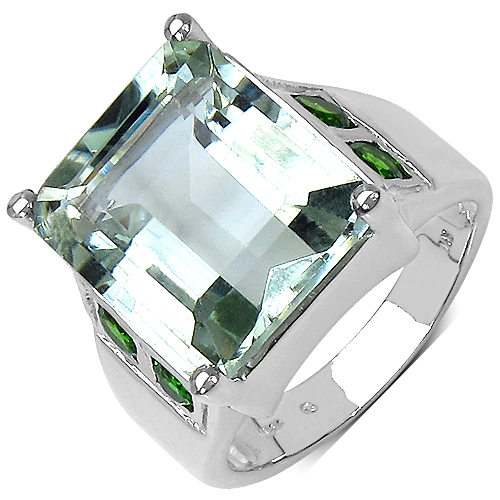 Amethyst-9.55 Carat Genuine Green Amethyst & Chrome Diopside .925 Sterling Silver Ring