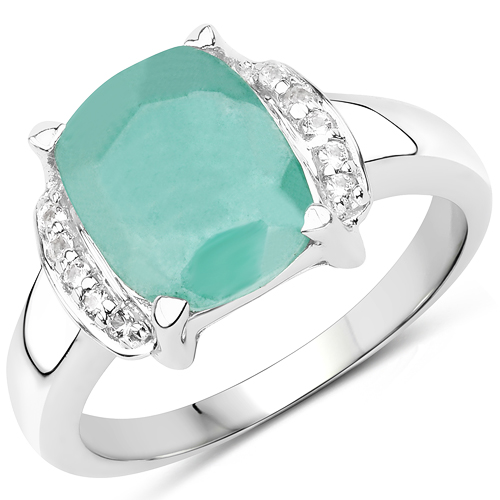 Emerald-3.15 Carat Dyed Emerald & White Topaz .925 Sterling Silver Ring