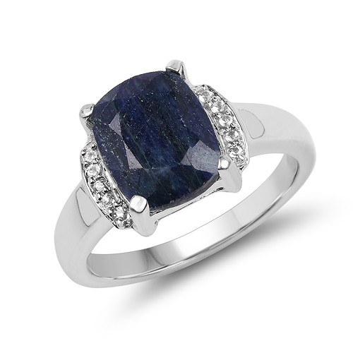 Sapphire-4.05 Carat Dyed Sapphire & White Topaz .925 Sterling Silver Ring