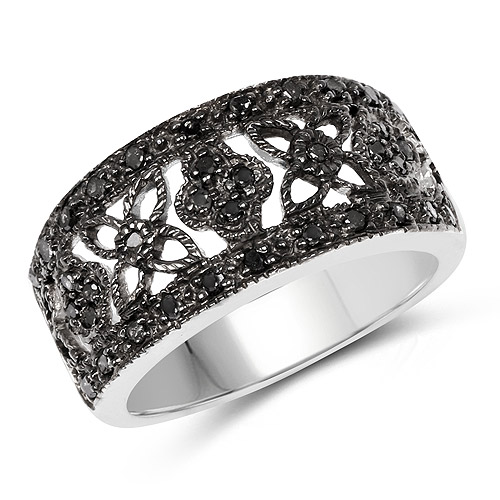 Diamond-0.28 Carat Genuine Black Diamond .925 Sterling Silver Ring