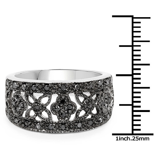0.28 Carat Genuine Black Diamond .925 Sterling Silver Ring