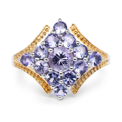 Two Tone Plated 1.67 Carat Genuine Tanzanite .925 Sterling Silver Ring