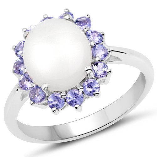 Opal-3.38 Carat Genuine Opal and Tanzanite .925 Sterling Silver Ring