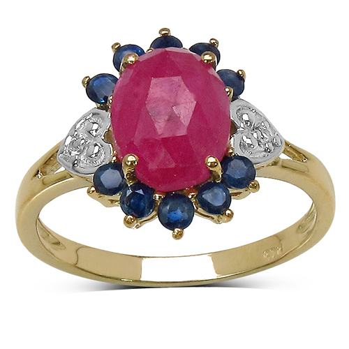 Sapphire-14K Yellow Gold Plated 1.47 Carat Genuine Pink Sapphire, Blue Sapphire & White Topaz .925 Sterling Silver Ring