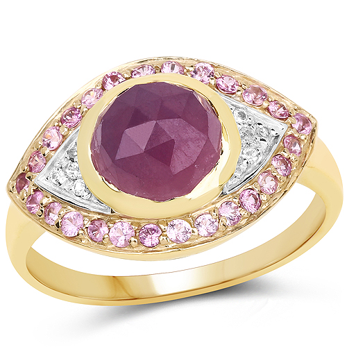 Sapphire-14K Yellow Gold Plated 3.02 Carat Genuine Pink Sapphire and White Topaz .925 Sterling Silver Ring