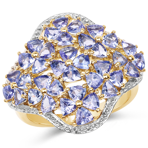 14K Yellow Gold Plated 3.60 Carat Genuine Tanzanite .925 Sterling Silver Ring