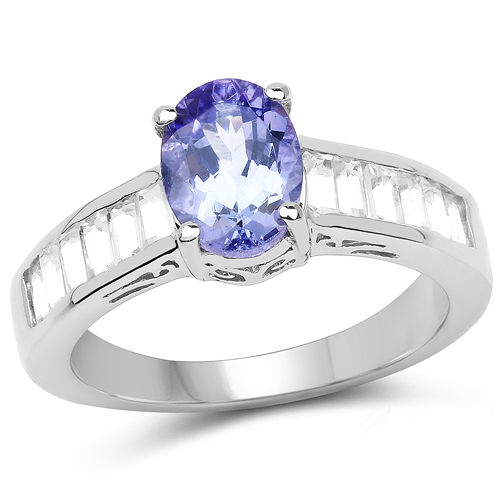 Tanzanite-2.13 Carat Genuine Tanzanite & White Topaz .925 Sterling Silver Ring