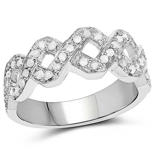 Diamond-0.40 Carat Genuine White Diamond .925 Sterling Silver Ring