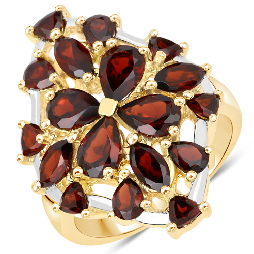 Garnet-14K Yellow Gold Plated 4.80 Carat Genuine Garnet .925 Sterling Silver Ring