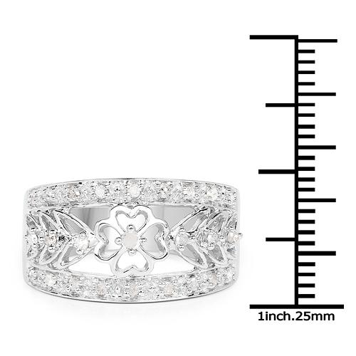 0.31 Carat Genuine White Diamond .925 Sterling Silver Ring