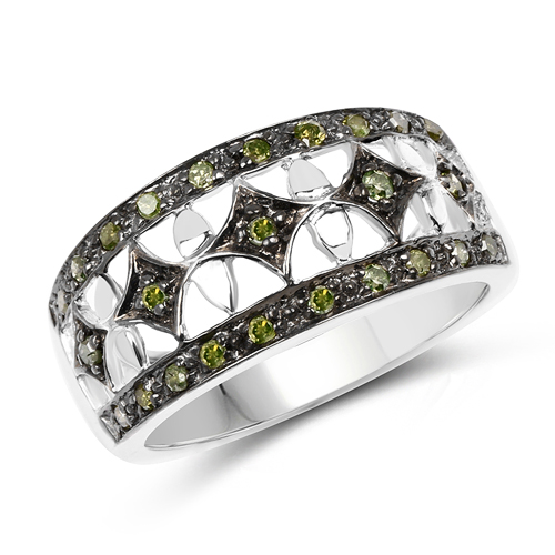Diamond-0.32 Carat Genuine Green Diamond .925 Sterling Silver Ring