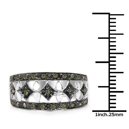 0.32 Carat Genuine Green Diamond .925 Sterling Silver Ring