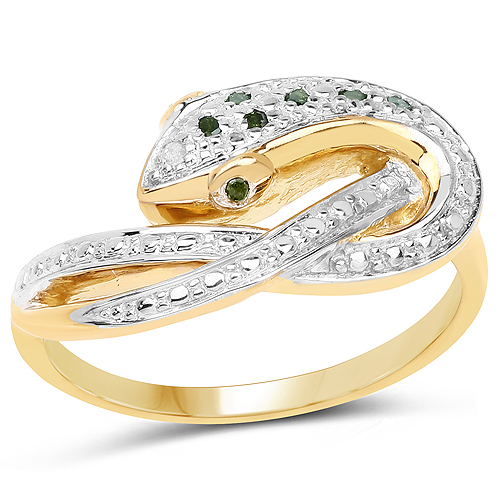 Diamond-14K Yellow Gold Plated 0.06 Carat Genuine Green Diamond and White Diamond .925 Sterling Silver Ring