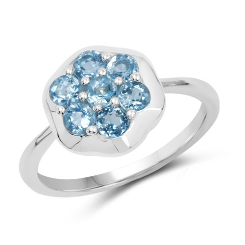 Rings-0.98 Carat Genuine Swiss Blue Topaz .925 Sterling Silver Ring