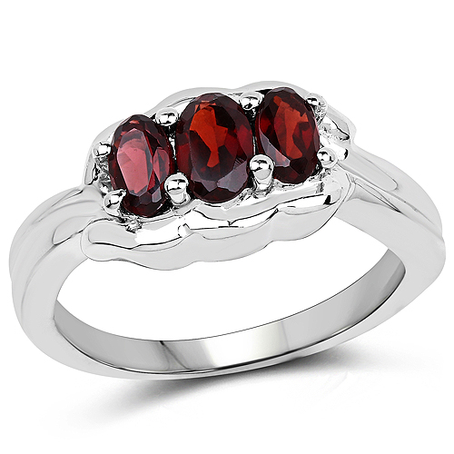 Garnet-1.15 Carat Genuine Garnet .925 Sterling Silver Ring