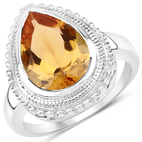 4.40 Carat Genuine Citrine .925 Sterling Silver Ring