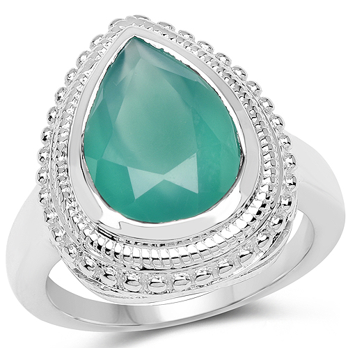 Rings-4.35 Carat Genuine Green Onyx .925 Sterling Silver Ring