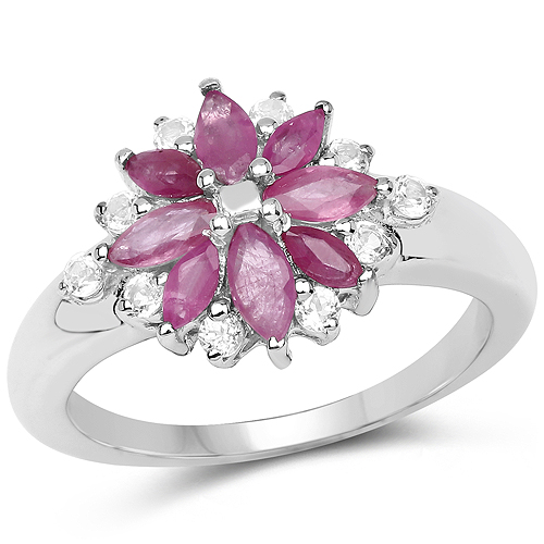 Ruby-1.24 Carat Genuine Ruby and White Topaz .925 Sterling Silver Ring