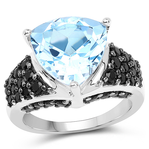 Rings-5.49 Carat Genuine Blue Topaz and Black Spinel .925 Sterling Silver Ring