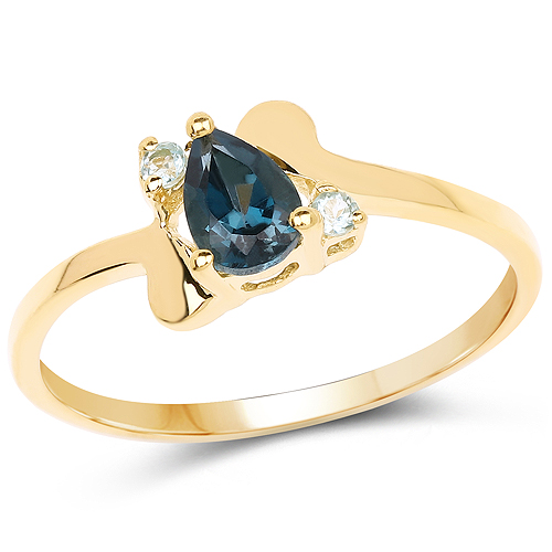 Rings-14K Yellow Gold Plated 0.58 Carat Genuine London Blue Topaz and Swiss Blue Topaz .925 Sterling Silver Ring