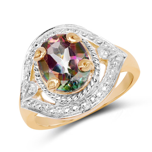 Mystic Topaz-14K Yellow Gold Plated 3.15 Carat Genuine Quartz Mystic .925 Sterling Silver Ring