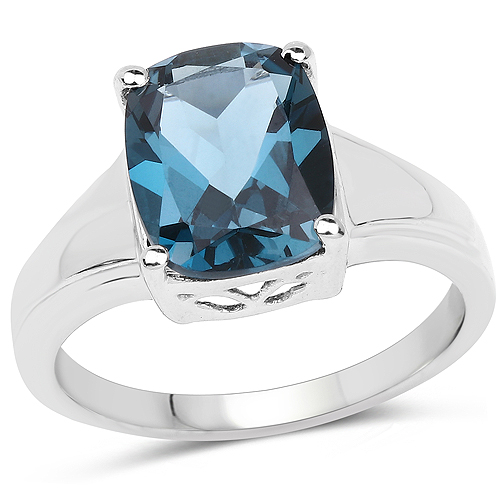 Rings-3.50 Carat Genuine London Blue Topaz .925 Sterling Silver Ring