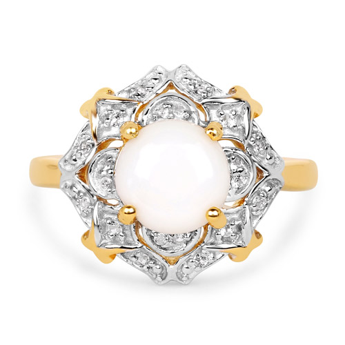 14K Yellow Gold Plated 1.40 Carat Genuine Opal and White Topaz .925 Sterling Silver Ring