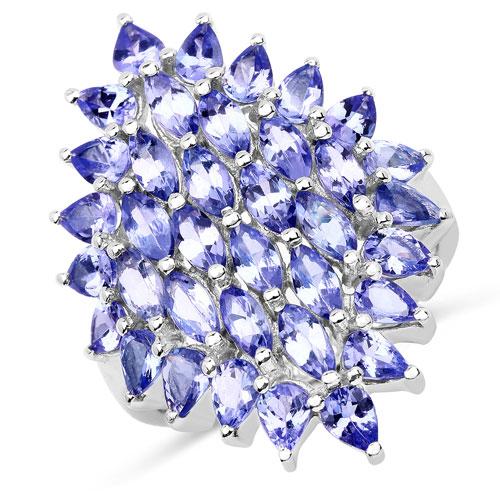 5.04 Carat Genuine Tanzanite .925 Sterling Silver Ring
