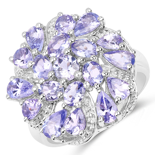 Tanzanite-3.35 Carat Genuine Tanzanite .925 Sterling Silver Ring