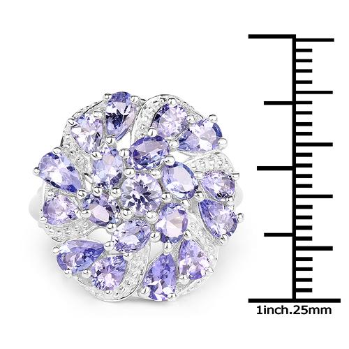 3.35 Carat Genuine Tanzanite .925 Sterling Silver Ring