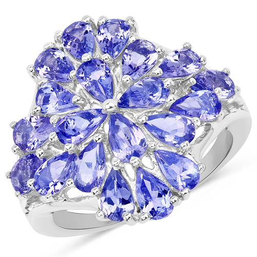 Tanzanite-3.80 Carat Genuine Tanzanite .925 Sterling Silver Ring