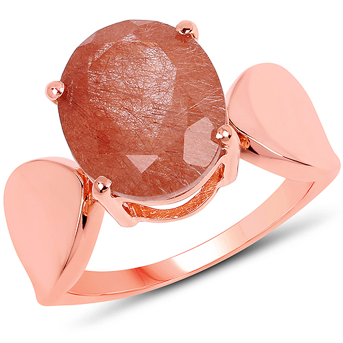 Rings-14K Rose Gold Plated 4.50 Carat Genuine Red Rutile .925 Sterling Silver Ring